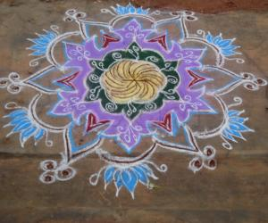 freehand colour rangoli