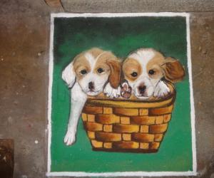 Rangoli: Dogs rangoli