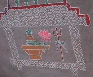 Rangoli: Shiva Temple with Shiva Lingu and Lotus