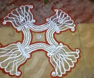Rangoli: Padi kolam in our apartment