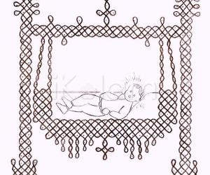 Rangoli: Krishna (or Christ) in a swing