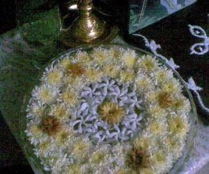 Rangoli: Glass bowl filled with water and flowers
