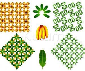 Rangoli: Banana - fruits and leaves