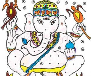 Rangoli: Lord Ganesh with modaka