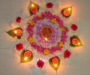 Rangoli: Flower rangoli for Karthigai