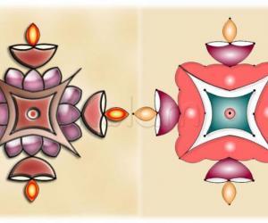 Rangoli:  Lotus and lamp rangoli