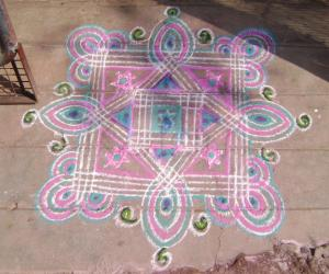 Rangoli: pink and blue fusion