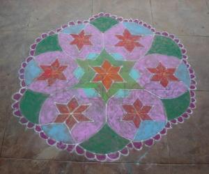 Rangoli: Colorful flowers for diwali