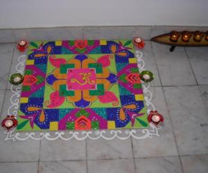 rangoli done during diwali 2009 at our house.