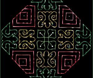 Rangoli: Neon colored strokes - Color Scheme: Birds