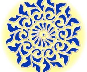 Rangoli: Cobalt blue and buttery yellow rangoli
