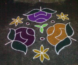 Rangoli: Rose kolam