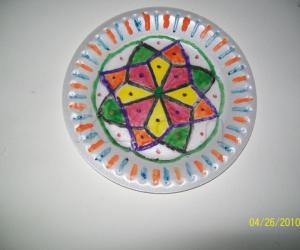 Rangoli: Decorated paper plate