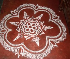 flower rangoli with some more designs