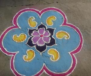 Rangoli: Flower and mango design