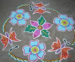 Rangoli: Butterfiy,flower kolam.