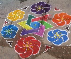Rainbow Flowers kolam