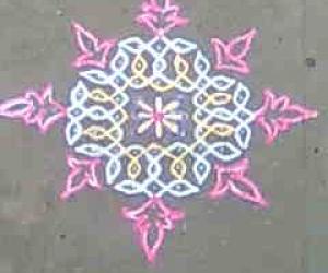 Rangoli: Dotted Rangoli with added art.