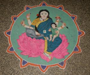 Rangoli: Multitasking lady