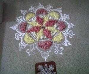 Rangoli: small flower patterns during Onam