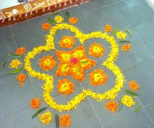 Our first floral rangoli