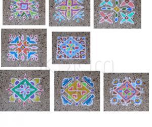Collage of colored 7x7 dot kolams