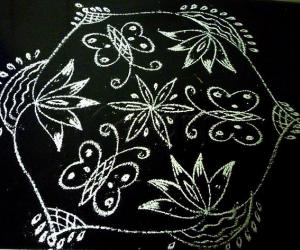 Rangoli: Water Lilly in black