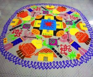 Rangoli: Happy Makar sankranti (pongal)