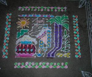 Rangoli: Dotted pongal kolam