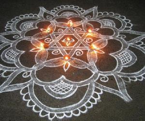 Rangoli: Tamizhil Puthandu Vazhthukkal (Tamil New Year Wishes)