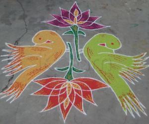 Rangoli: Birds & lotus