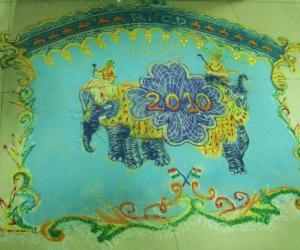 Rangoli: Freehand Rangoli done on New year day
