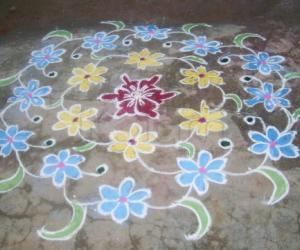Flower design kolam
