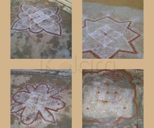Collage of Traditional kolams