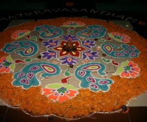 Diwali rangoli made at office
