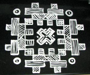 Black and white Padikolam