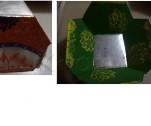 Rangoli: metal basket painting-3