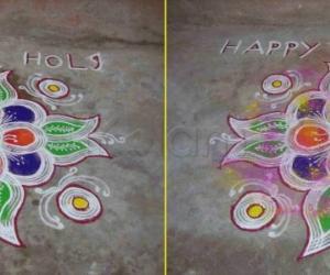 Rangoli: Holi Rangoli - Before and after