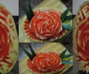 Rangoli: rose water melon carving