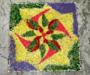 Rangoli: Simple Flower Rangoli for Vijayadashami