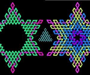 Rangoli: Triangular arrangement of rhombuses in hexagonal patterns - 2