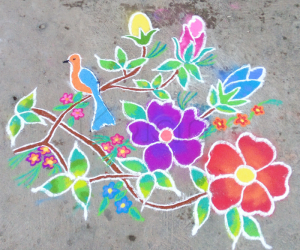 Freehand rangoli Bird