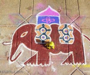 Rangoli: Elephant kolam