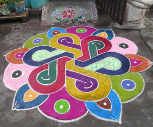 Rangoli for festivals like Holi