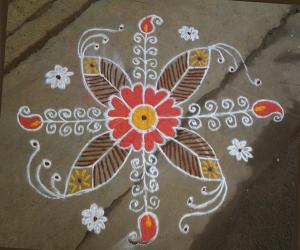 Rangoli: Rangoli design in orange