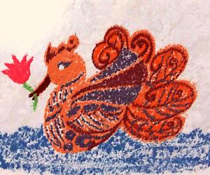 Rangoli: Navarathiri Day 7 Freehand Swan with Lotus rangoli with colours