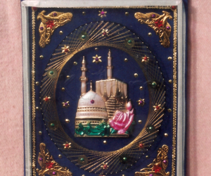 Craft with pins & golden thread.