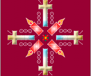 Crosses and candles christmas rangoli with poinsettia