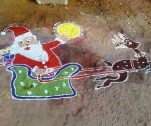 Rangoli: Santa claus on christmas day