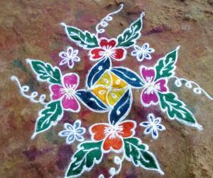 Rangoli: Dotted flower design